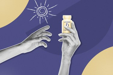 mixed media graphic showing hand holding vitamin D bottle with sun on purple background