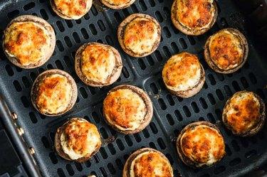 Air Fryer Veggie Stuffed Mushrooms on air fryer rack