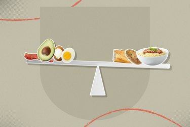 mixed media graphic of scale showing high-fat high-protein foods for keto diet balancing high-carb foods on gray background