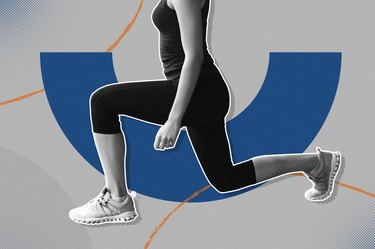 mixed media image of woman doing lunge every day on blue and gray background