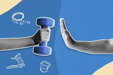 Hand refusing a dumbbell; person who doesn't exercise concept