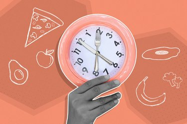 mixed media graphic of hand holding eating utensil clock with food in background