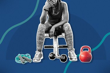mixed media graphic of  woman tired from exercising too much with kettlebell, dumbbell and jump rope on blue background