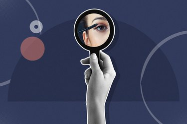 mixed media graphic showing woman looking into a compact mirror and applying mascara on a blue background