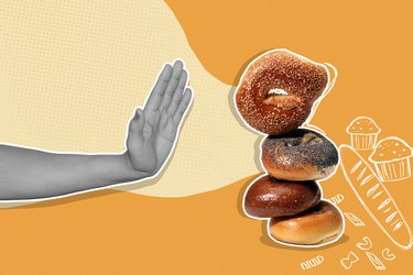 mixed media graphic of hand saying no to stack of bagels on yellow background