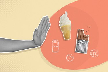 Illustration concept of a person's hand saying no to sugary foods like chocolate, candy and cupcakes