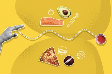 mixed media graphic showing yo-yo diet concept with pizza, salmon, avocado and cupcake on a yellow background