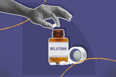 hand holding melatonin supplement over bottle on purple background