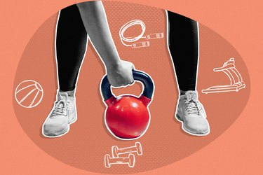mixed media graphic showing hand grabbing red kettlebell with illustrations of effects of starting to exercise