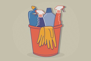 Illustration of a bucket of disinfectant products