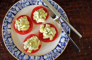 Egg Salad Tomato Bruschetta as an example of Weight Watchers dinner recipes