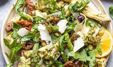 Plate of Pesto Tortellini Salad