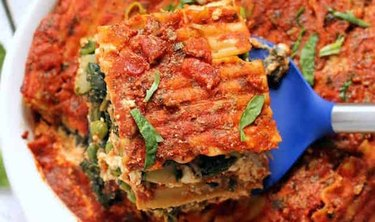 Slab of vegan lasagna