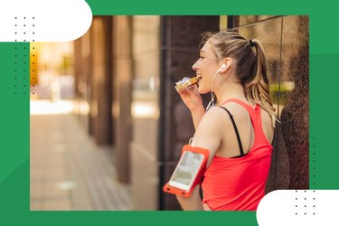rear view of runner wearing red tank top and eating a healthy carb snack