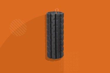 black Brazyn morph bravo collapsible foam roller on orange background