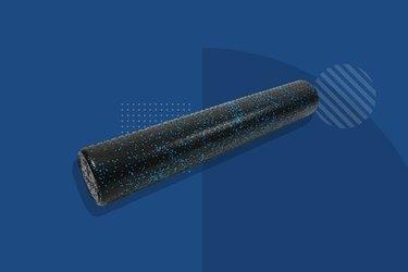 blue Luxfit foam roller on blue background