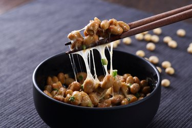 Japanese probiotic Natto on wooden table