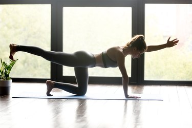Young sporty woman doing Bird dog exercise