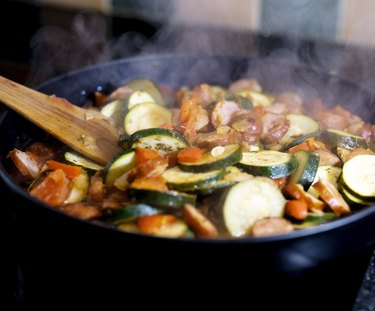 close view of cooking zucchini, one of the foods to avoid during allergy season