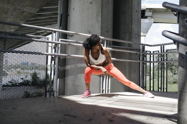 Fit Woman Doing the Side Lunge Exercise