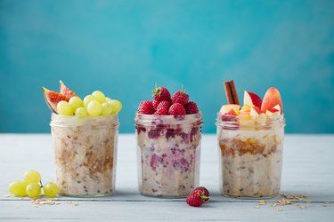 Assortment overnight oats, vegan with berries and fruit and nut butter