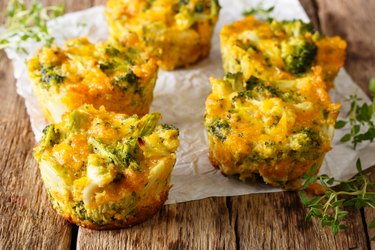 Delicious and healthy broccoli sous vide egg bites with cheddar cheese, egg and thyme