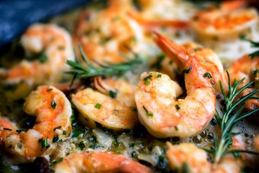 Phosphorous-rich Jumbo Shrimp Scampi Sauteeing in Butter and Olive Oil