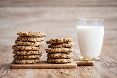 Milk and cookies, homemade with chocolate chips.