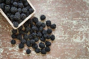 Juicy omega-3-rich blackberries in the basket