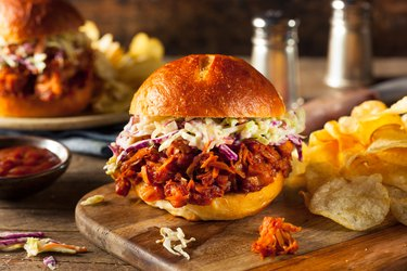 Homemade Vegan Pulled chicken BBQ Sandwich