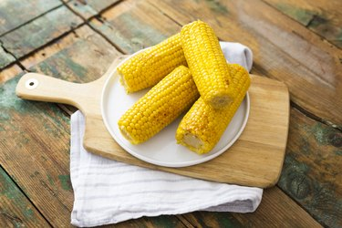 Corn cobs on plate