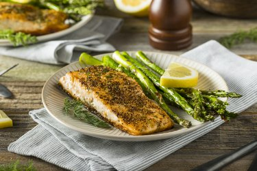 Organic Pan Seared Salmon and asparagus, as an example of food on an obesity diet plan