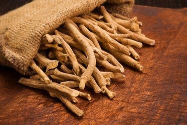 Aswagandha root, herbal medicine.