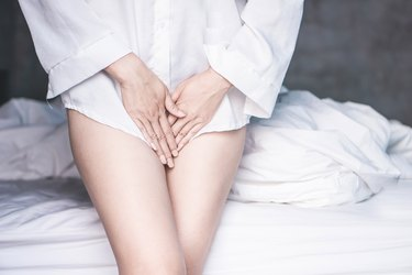 woman hand holding her crotch suffering from pain,itchy concept