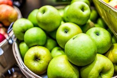 Antioxidant-rich Granny Smith apples in basket