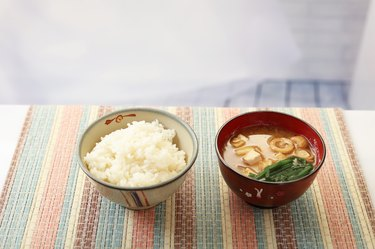 You don't have to avoid low-fiber vegan foods like white rice and miso soup in your low-residue colonoscopy diet foods sheet