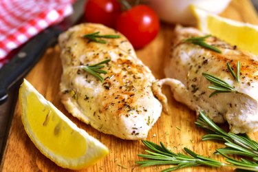 Chicken breast baked with rosemary and Glutamic acid