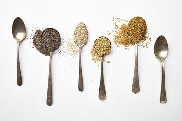 chia seeds, psylium husk, hemp seeds, flaxseeds