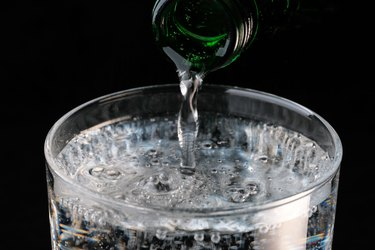 Pure carbonated water pouring