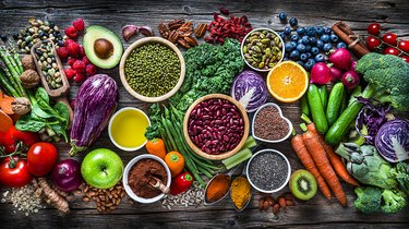 Healthy vegan food background. Top view