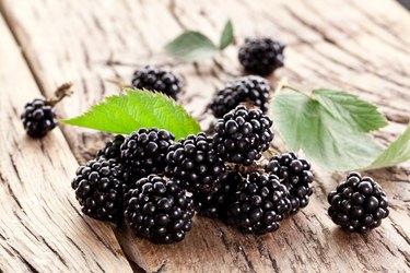 Blackberries with leaves.