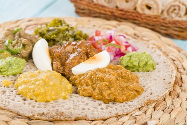 Assortment of Ethiopian food