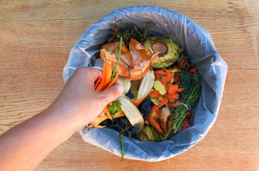 A hand tosses additional scraps into a plastic-lined bin full of other food scraps, including banana peels, avocado, green stems and more