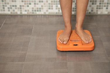 Feet on a bathroom scale