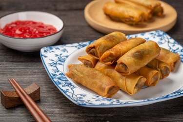 Delicious fried spring rolls and sweet chili sauce