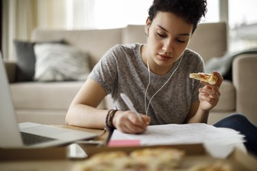 woman working at home and stress eating