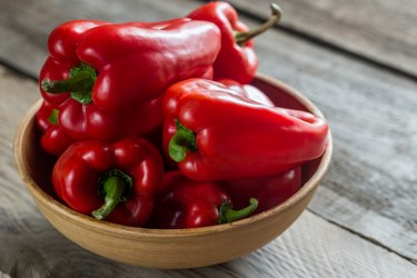 collagen-building red bell peppers in bowl