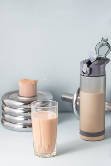 Healthy food concept. Protein drink.