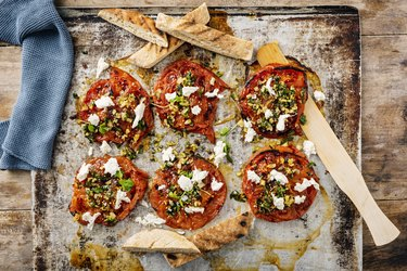 Baked Beefsteak Tomatoes with Arugula and Mozzarella