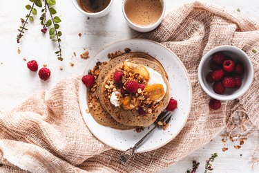 Galette or Crêpe Bretonne with Sarrazin for the Chandeleur with Yogurt, Fruits, Granola.